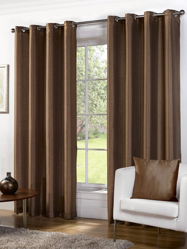 Bronze Faux Silk Eyelet Curtains Pair Albergo