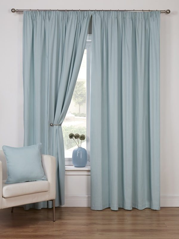 Duck Egg Unlined Pencil Pleat Curtains Pair Canvas Collection