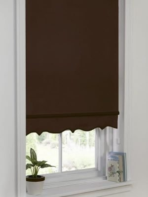 Chocolate Scalloped Roller Blind