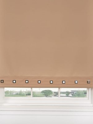 Coffee Square Eyelet Roller Blind