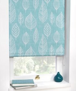 Duck Egg Leaf Motif Blackout Roller Blind
