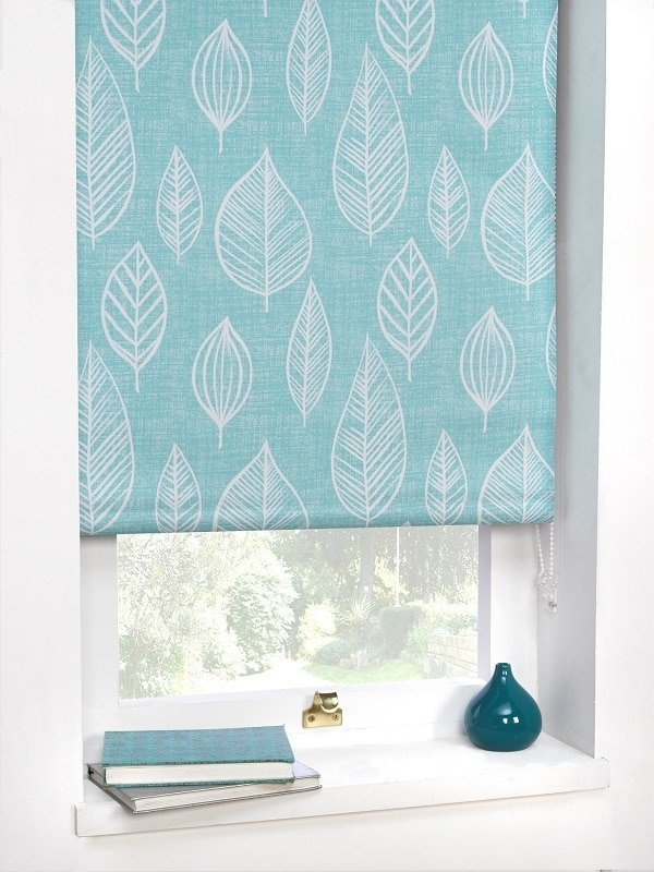 Duck Egg Leaf Motif Blackout Roller Blind Homefords