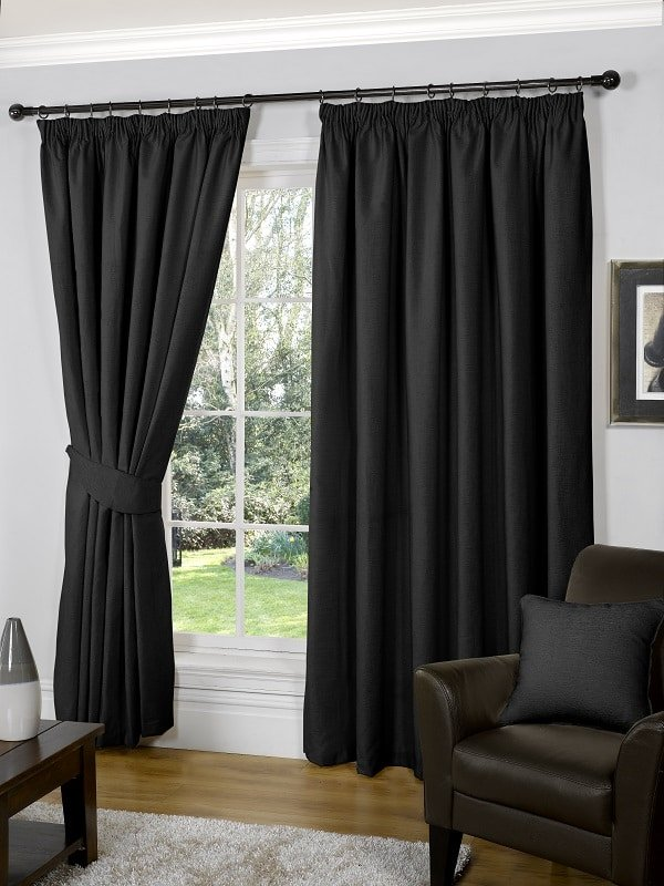 Black Pencil Pleat Curtains (Pair) // Galway Collection - Homefords