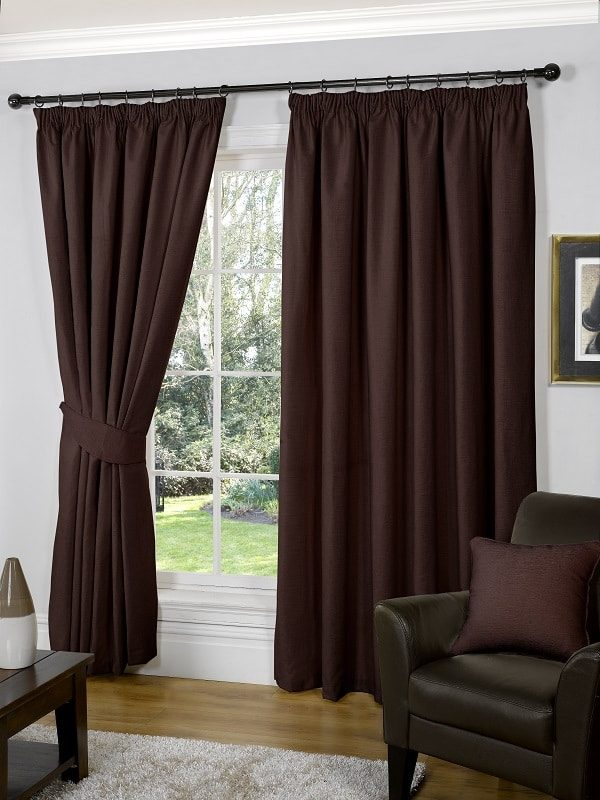 Chocolate Pencil Pleat Curtains (Pair) // Galway Collection - Homefords