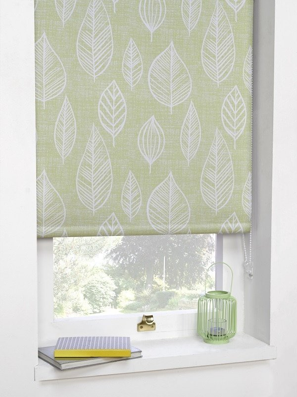 Green Leaf Motif Blackout Roller Blind Homefords
