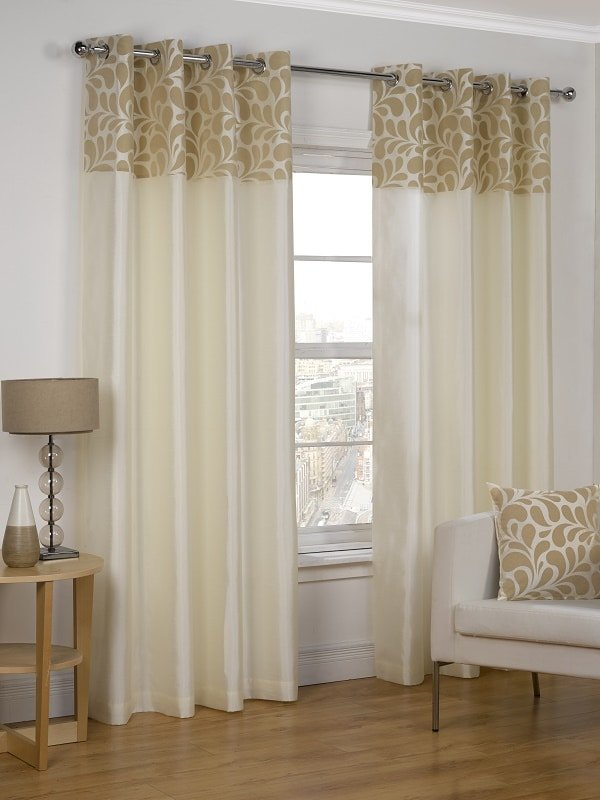 Cream Eyelet Curtains Pair Siena Collection Homefords