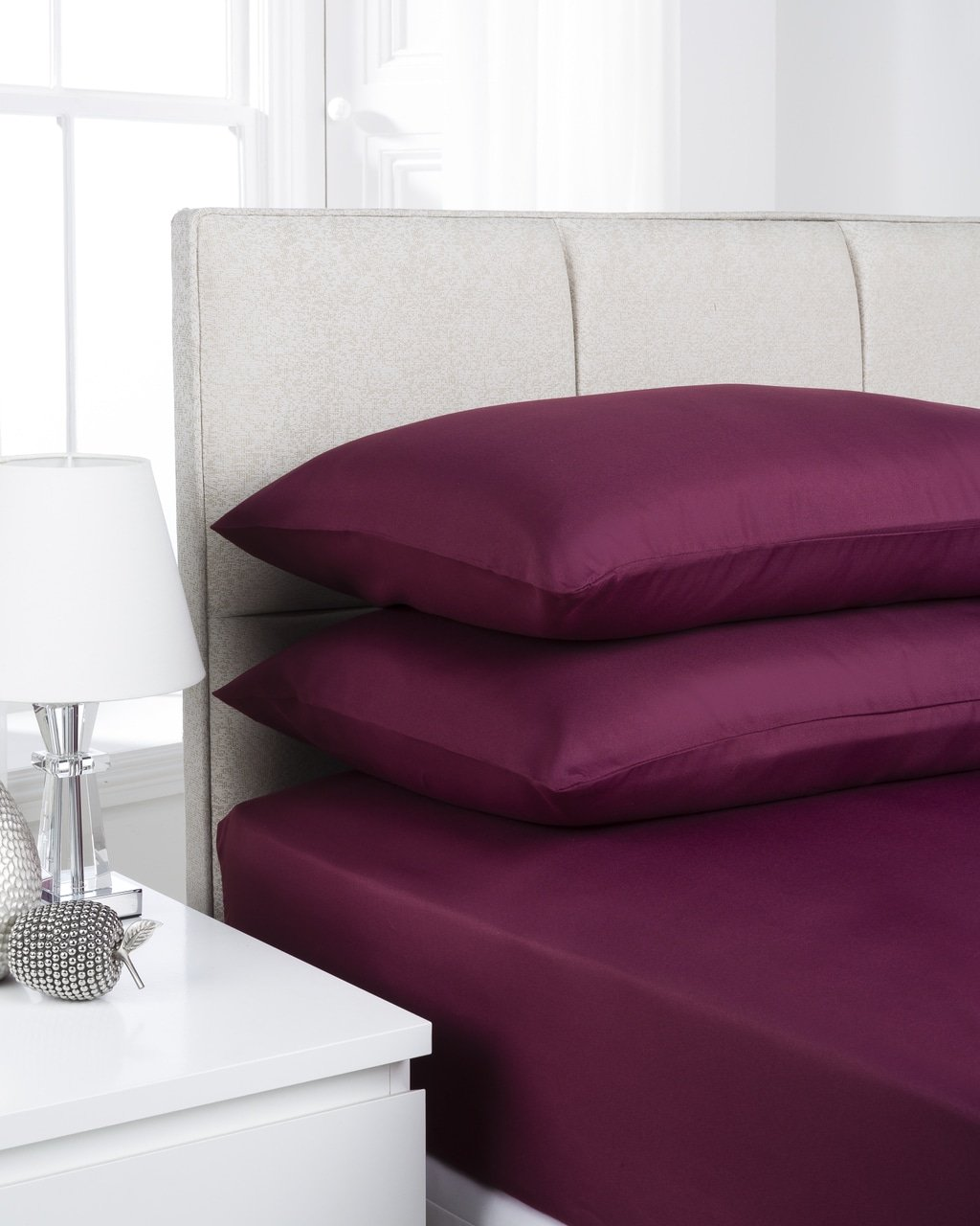 aubergine plain dye flat sheet single double king. Black Bedroom Furniture Sets. Home Design Ideas