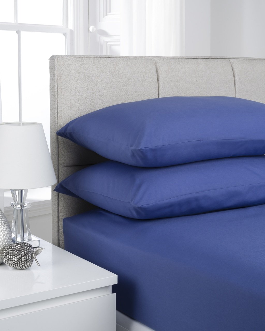 French Blue Plain Dyed Bedding