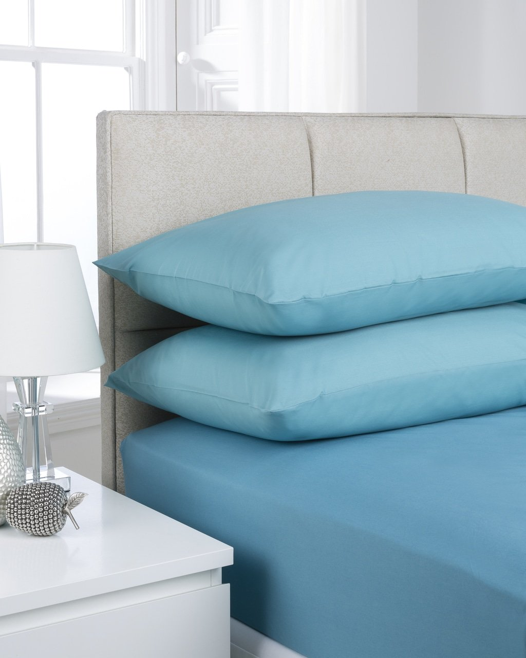 Teal Plain Dye Fitted Bed Sheet Single Double King