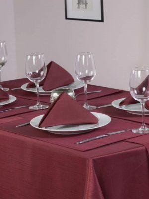 Burgundy Faux Silk Tablecloth