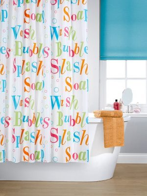 Lettered Shower Curtain