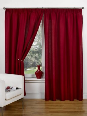 Red Canvas Pencil Pleat Curtains