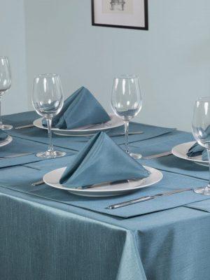 Teal Faux Silk Tablecloth