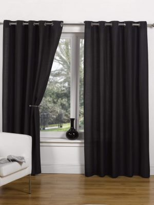 Black Canvas Ring Top Curtain