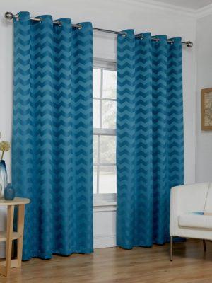 Blue Wave Eyelet Curtains