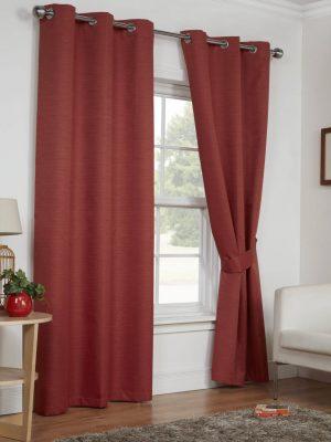 Terracotta Moonlight Eyelet Curtains