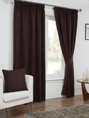 Chocolate Faux Suede Pencil Pleat Curtains