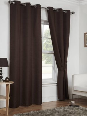 Chocolate Moonlight Eyelet Curtains