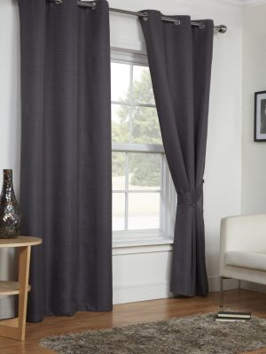 Dark Grey Moonlight Eyelet Curtains