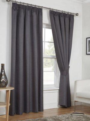Dark Grey Moonlight Pencil Pleat Curtains