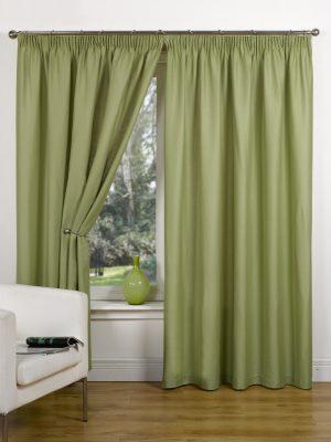 Green Canvas Pencil Pleat Curtain