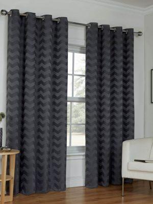 Grey Wave Eyelet Curtains