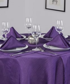 Linen Look Purple Round Tablecloth