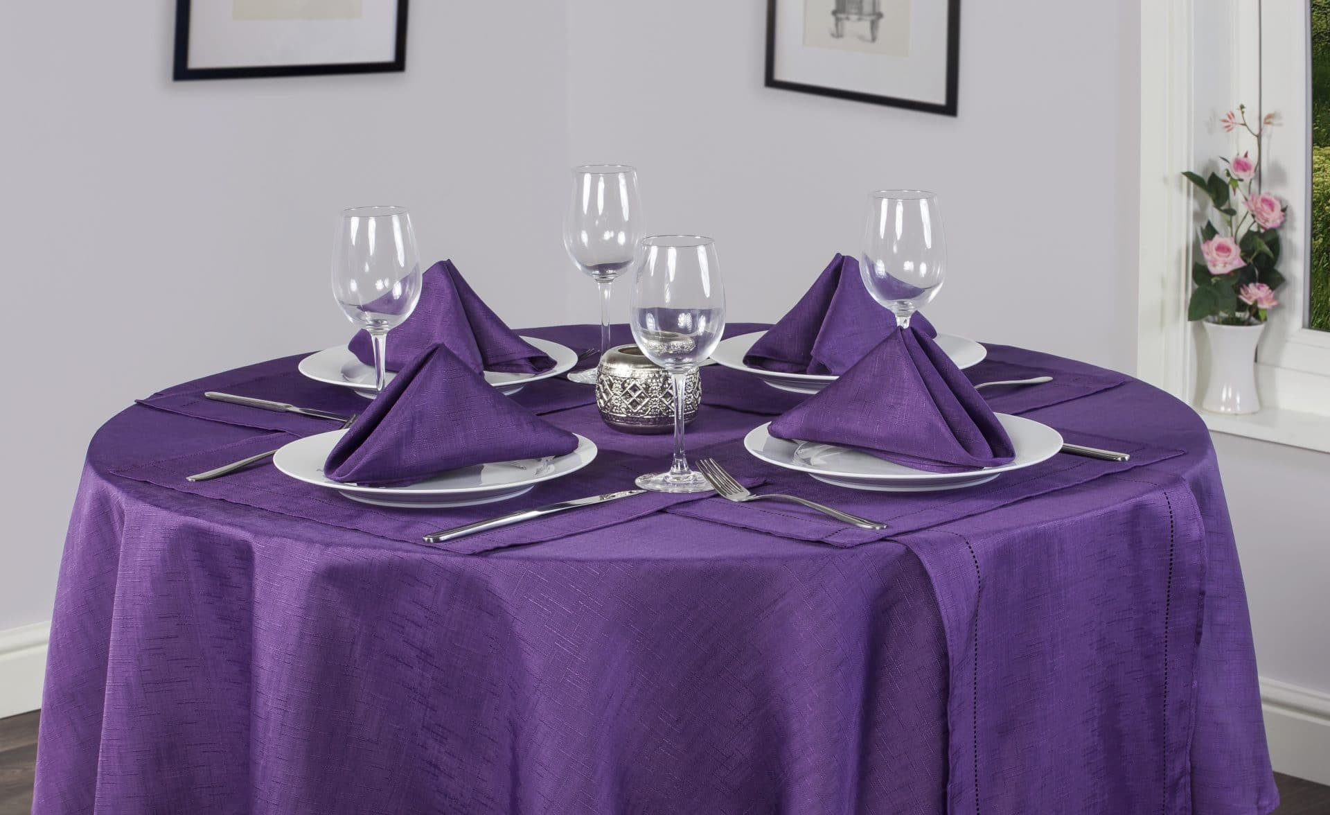 Purple Tablecloth Round Linen Look Homefords