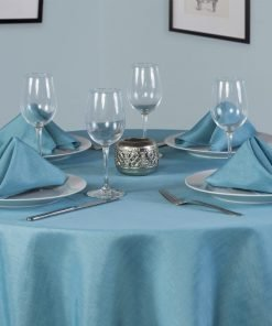 Linen Look Teal Round Tablecloth