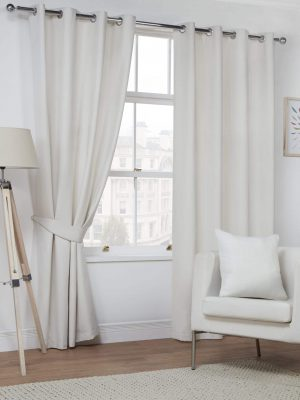 Natural Faux Suede Eyelet Curtains