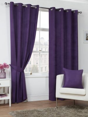 Plum Faux Suede Eyelet Curtains