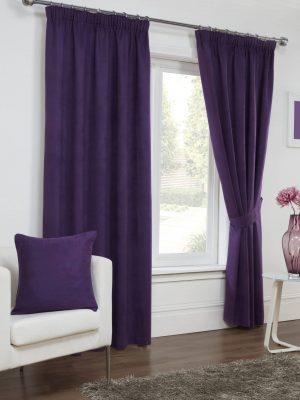 Plum Faux Suede Pencil Pleat Curtains