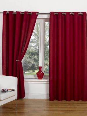 Red Canvas Ring Top Curtain