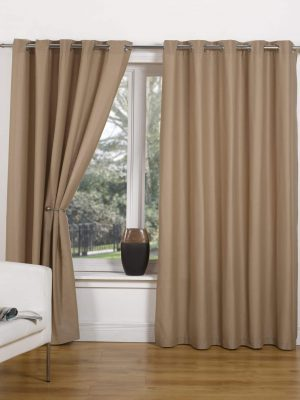 Taupe Canvas Ring Top Curtain