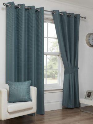 Sea Blue Textured Eyelet Curtains