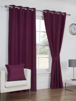 Textured Aubergine Eyelet Curtains
