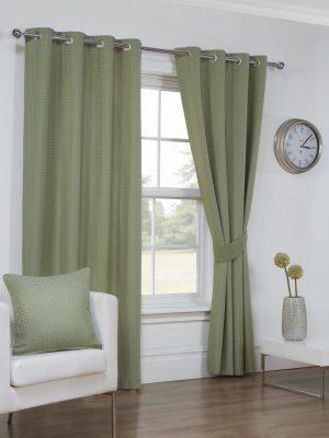 Textured Green Eyelet Curtains