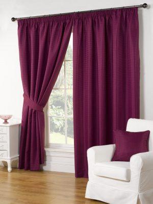 Aubergine Pencil Pleat Textured Curtains