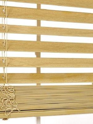 Faux Wood Blind oak crop