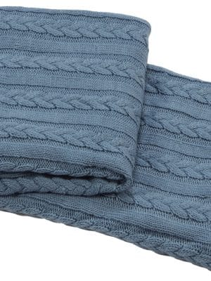 knitted plait blue throw