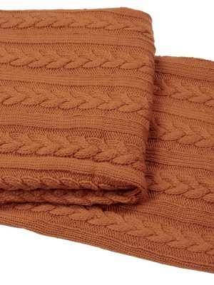 knitted plait orange throw
