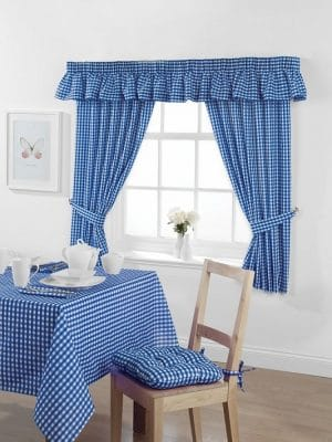Gingham Curtains Bluebell