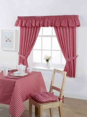 Gingham Curtains Cherry
