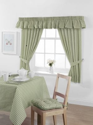 Gingham Curtains Sage