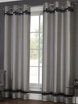 crowne silver and black curtain