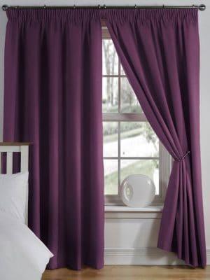 elements aubergine pleat curtain