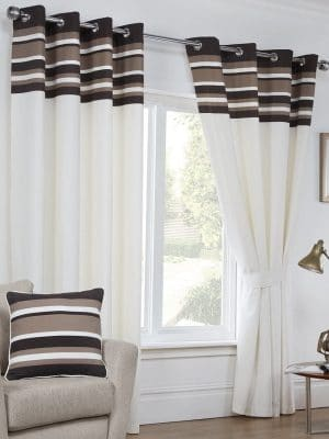oxford chocolate and white curtains