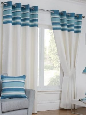 oxford teal and white curtains