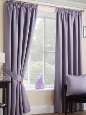 serene mauve pleat curtains