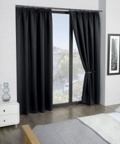 Woven Blackout Pencil Pleat Curtains in Black